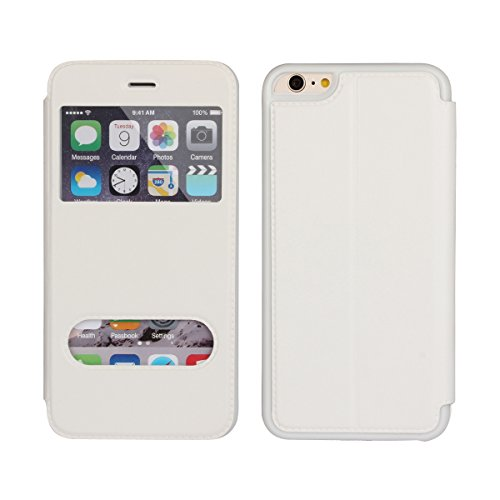 iPhone 6 Plus Cases IPhon 6s Plus Cases Zouzt Full Body Protection Leather Ultra Thin Folio Flip Cases with Kickstand Feature & Dual Window View for IPhone6 Plus/ 6s Plus(White) ()