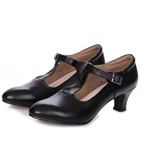 Black Leather To Cm 25 Lady Latin Dancing 22 Cm 0 5cm Shoes Chacha Summer 5 Dance Modern Cow Shoe Adult Size Girls Samba professionals Latin Soft Shoes And Dance Shoes Jazz 5 Ladies Women's 6ZzT1z