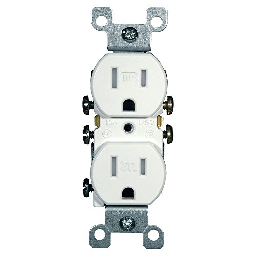 Leviton T5320-W 15A 125V Tamper Resistant, Duplex Receptacle, Residential Grade, Grounding, White (10 (Leviton White 15a Tamper)