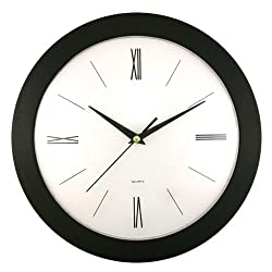 Timekeeper Products LLC Round Roman Wall Clock, 12, Black