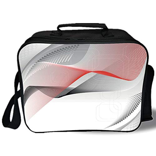 Abstract 3D Print Insulated Lunch Bag,Modern Digital Composition with Geometric Elements Squares Dots Curves Waves Decorative,for Work/School/Picnic,Red Grey Black