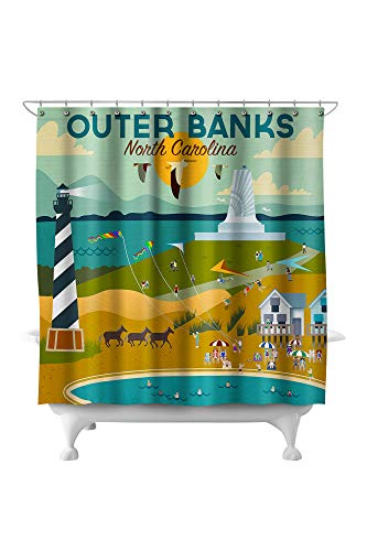 Lantern Press Outer Banks, North Carolina - Beach, Ocean, and Lighthouse - Geometric 86537 (74x74 Polyester Shower Curtain)
