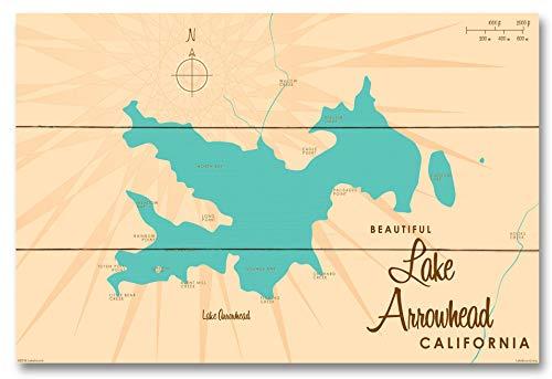 Lake Arrowhead California Vintage-Style Map Wood Art Print by Lakebound (12