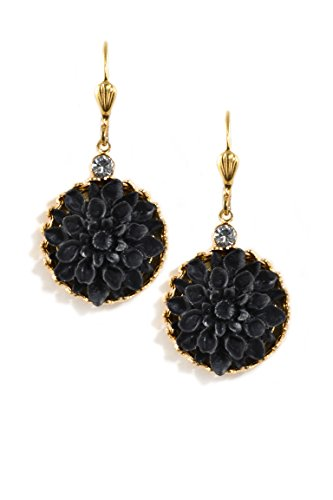 Clara Beau Clear Swarovski Glass Crystal accented Goldtone Resin Black Dahlia Earrings EC373 G-Jet]()