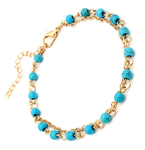 Turquoise Bead Bracelet by LANCHELA Turquoise Gemstone Jewelry Bracelet 14K Gold Filled Chain, Adjustable, Elegant Everyday (14k Gold Bead Bracelets)