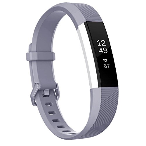 AK for Fitbit Alta HR Bands, Newest Fitbit Alta HR Band Replacement Wristband Strap with Secure Metal Buckle for Fitbit Alta HR/Fitbit Alta (Grey, Large) Gray Wristband