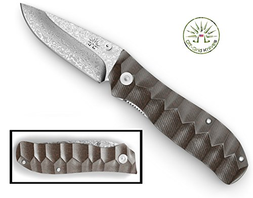 Off-Grid Knives - (OG-177) Drop Point Damascus Folding Knife with Textured Micarta Handle