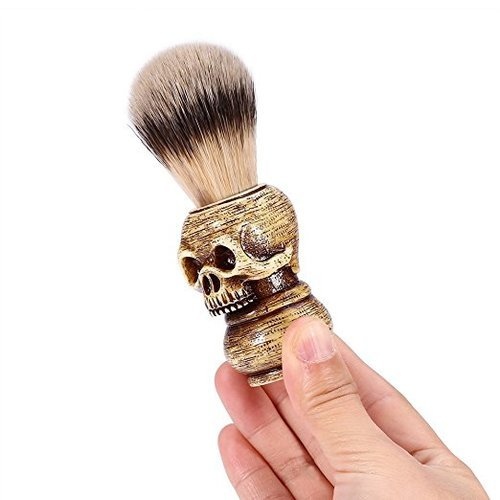 OBeauty Badger Shaving Brush 100% Original Pure Wooden Skull Handle Natural Resin for Men by OBeauty