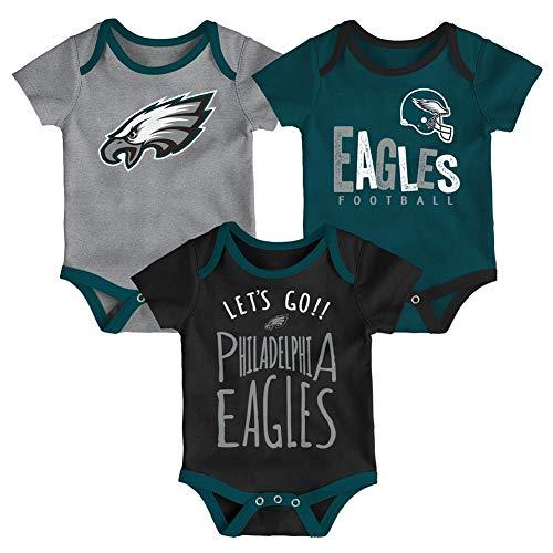 Infant Football Jersey Set - NFL by Outerstuff NFL Philadelphia Eagles Newborn & Infant Little Tailgater Short Sleeve Bodysuit Set Jade, 0-3 Months