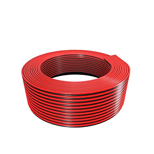 BTF-LIGHTING 32.8ft/10m 18AWG LED Strip Light Ribbon Electrical Extension Cable Wire 2 Pin Red Black Stand Connection 2 Core Cord Line for 3014 5630 Single Colour Flexible LED Tape Rope