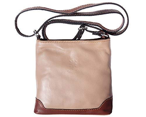 Mini Womens Leather Tan (LaGaksta Mini Very Soft Italian Leather Crossbody Small Cell Phone Wallet Purse Light Taupe-Brown)