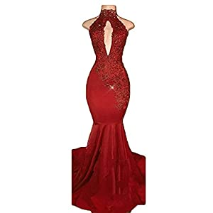 BridalAffair Sexy Halter Mermaid Prom Dresses 2018 Long Lace Appliques Evening Dress