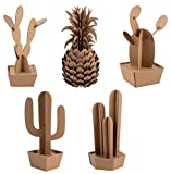 3D Puzzle - 5-Pack Cacti and Pineapple Jigsaw Puzzles for Kids and Adults, Corrugated Cardboard Paper, Creative DIY Activity for Ages 3 and Up, for Home Desk Party Centerpiece Decoration