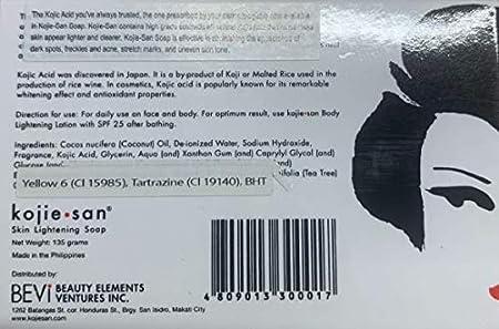 Jabón blanqueante Kojie San, jabón de ácido kójico para aclarado de la piel (2barras, 135g)