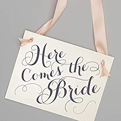 Here Comes The Bride Wedding Sign for Flower Girl + Ring Bearer White Paper Gray Ink + Blush Pink Ribbon