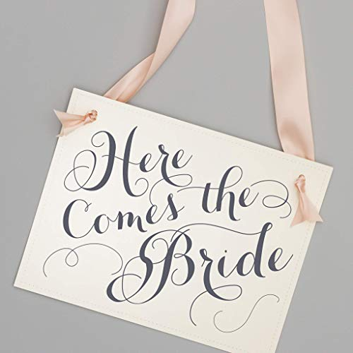 Here Comes The Bride Wedding Sign for Flower Girl + Ring Bearer White Paper Gray Ink + Blush Pink Ribbon]()