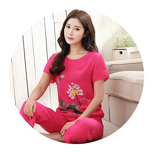 Green Print Female Pajamas Set Sleepwear Chinese Women Cotton Linen Pyjamas Suit Nightwear,4,XXL