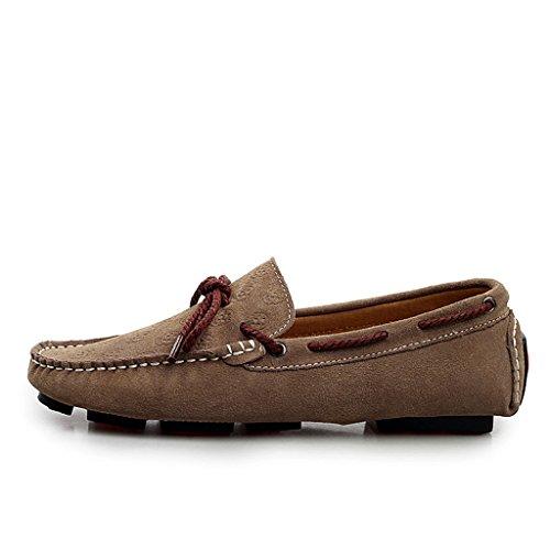 Minitoo Hombres de la impresión floral comodidad Casual Suede Loafer Fashion tipo Mocasín zapatos de barco gris