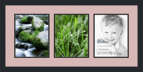 ArtToFrames Collage Photo Frame Double Mat with 3 - 8x10 Openings and Satin Black - Frames Cheap Picture Pink