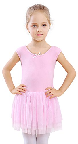 STELLE Girl's Short Sleeve Tutu Dress Tank Top Leotard for Dance/Gymnastics/Ballet(Toddler/Little Girls/Big Girls)(Ballet Pink, 130cm(8-10Y)) - Short Sleeve Tutu