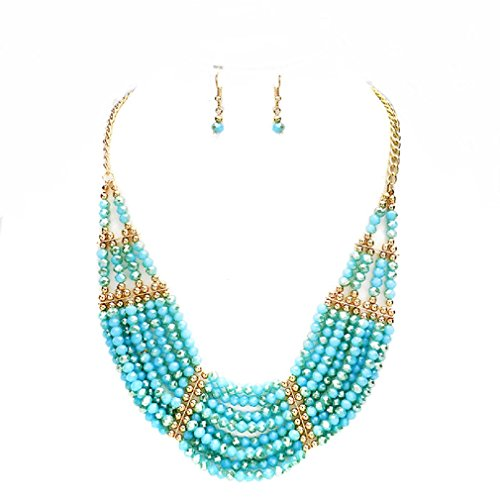 Uniklook Statement Layered Strands Glass Turquoise Blue Beads Necklace Earrings Set Gift Bijoux (turquoise) (Blue Stone Statement Necklace)