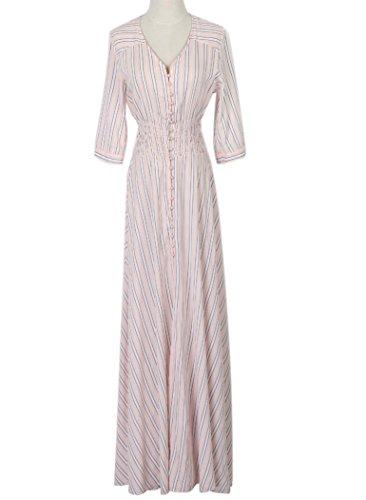Persun Women's Pink V Neck Button Down Stripes Slit Front 3/4Sleeve Maxi Dress