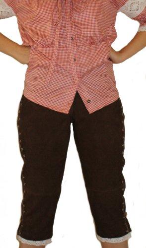 Damen Trachten lederhose Kniebundhose Damenlederhose Dunkelbraun/Weiß, Größe:50