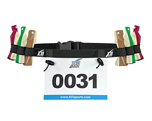 X31 Sports Triathlon Race Number Belt with 6 Gel - Tri Belt Race