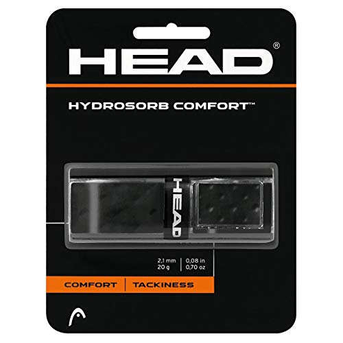 HEAD Hydrosorb Comfort Tennis Racket Replacement Grip - Tacky Racquet Handle Grip Tape - Black