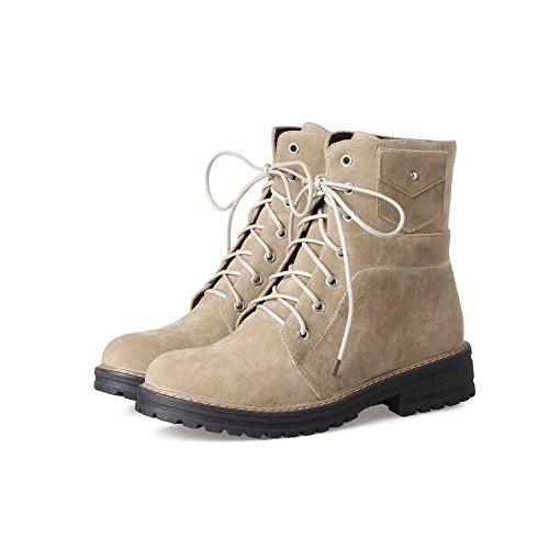 BalaMasa Womens Retro Platform Grommets Urethane Boots ABL09896 Apricot TrCS0yPxr