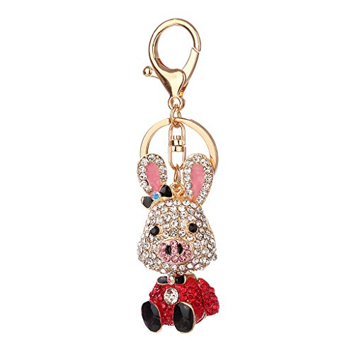 Siren Helmet Womens - NATFUR Crystal Rhinestone Keyring Keychain Charm Pendant Bag Purse Key Car Key Ring Pretty for Women for Girls for Gift Beautiful Great Fine | Color - Red Pig