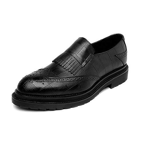 BMD-Shoes Scarpe di pelle, Scarpe da uomo in pelle PU Classic Slip-on Nappa Decorazione Business traspirante formale foderato Oxfords (Color : Nero, Dimensione : 44 EU) Nero