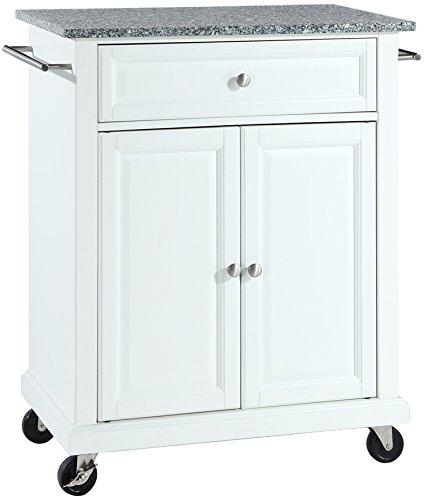 Crosley Furniture Cuisine Kitchen Island with Solid Grey Granite Top - White