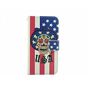 English Teeth Skull Pattern PU Full Body Protective Cover with Stand and Card Slot for Samsung Galaxy S6