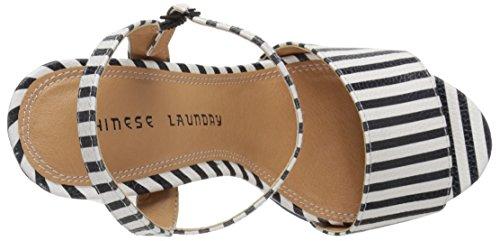 Chinese Laundry Womens Abie Plattform Sandal Svart / Vit Rand