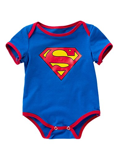 D.B.PRINCE Newborn Baby Boys Girls Superman Short Sleeve Bodysuit Romper Outfits (0-3 Months, Superman) ()