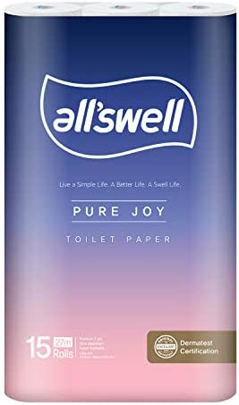 all'swell - Pure Joy 3ply top class rest room paper, 15 rolls