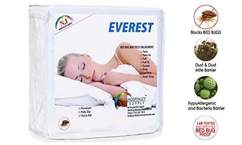 Everest Polyzip Box Spring/Mattress Encasement 100% Bed Bug-Dustmite Proof, Machine Washable, Non-Waterproof, Breathable, Hypoallergenic, Zippered Cover (Twin (39