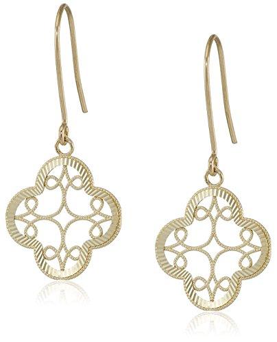 14k Yellow Gold Diamond-Cut Clover Dangle Earrings