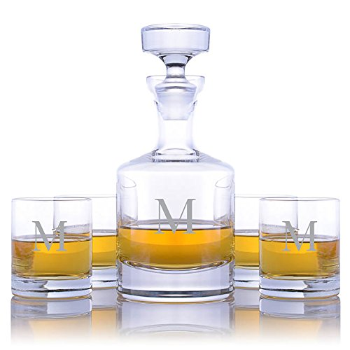 (Personalized Ravenscroft Lead-free Crystal Buckingham Whiskey Liquor Decanter & 4 Rocks Glasses Engraved & Monogrammed - Retirement Gift - Great Home Bar Addition (Custom 5 Piece Rocks Set))