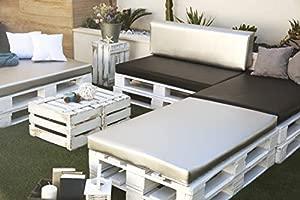 Conjunto colchoneta para sofas de palet Negro y respaldo Blanco (1 x Unidad) Cojin relleno con espuma.   Cojines para chill out, interior y exterior, ...