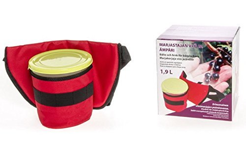 (Berry Picker Collection Tool 1,7 L BUCKET with LID on BELT with Pocket Easy Harvest)