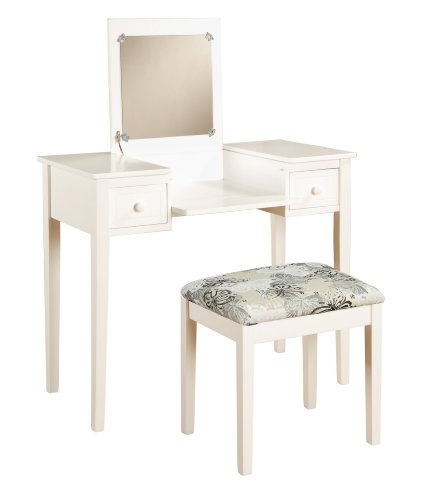 Linon Home Decor Vanity Set Butterfly Bench White