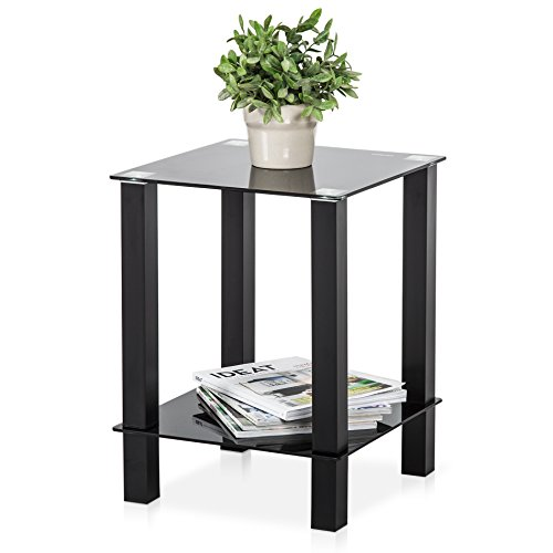 FITUEYES Black Glass & Two Tier Square Side Table / Lamp Table / End Table,DT203701GB (Glass Square End Top Table)