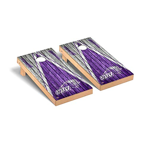 - Victory Tailgate Regulation Collegiate NCAA Weathered Triangle Series Cornhole Board Set - 2 Boards, 8 Bags - Southwest Baptist University SBU Bearcats