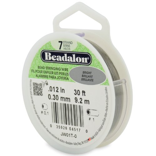Beadalon Stringing Wire 7-Strand 0.012-Inch (0.30-Millimeter) Diameter, 30-Feet/Pkg, Bright ()