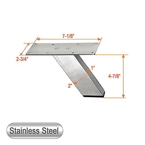 Stainless Steel Metal Sofa Legs, Furniture Legs, Angled Design, Retangular Tube, 4-7/8''H - Set of 4 NEW (4-7/8''H)