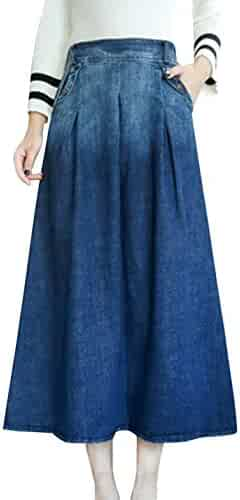 c19c1c022e Tanming Women s High Waist Elastic Flared Denim Midi Skirts