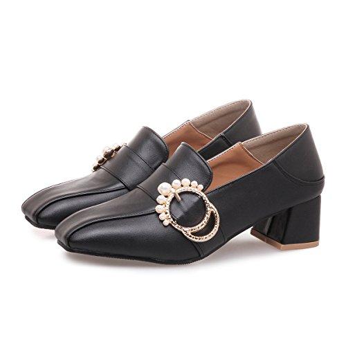 CXQ-Heels QIN&X Womens Block Quadratischen Kopf Flach Mund Schuhe Black