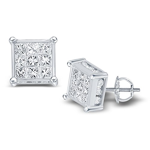 14kt White Gold Womens Princess Diamond Cluster Stud Earrings 7/8 Cttw (I2-I3 clarity; I-J color) 14kt Gold Birthstone Cluster Earrings